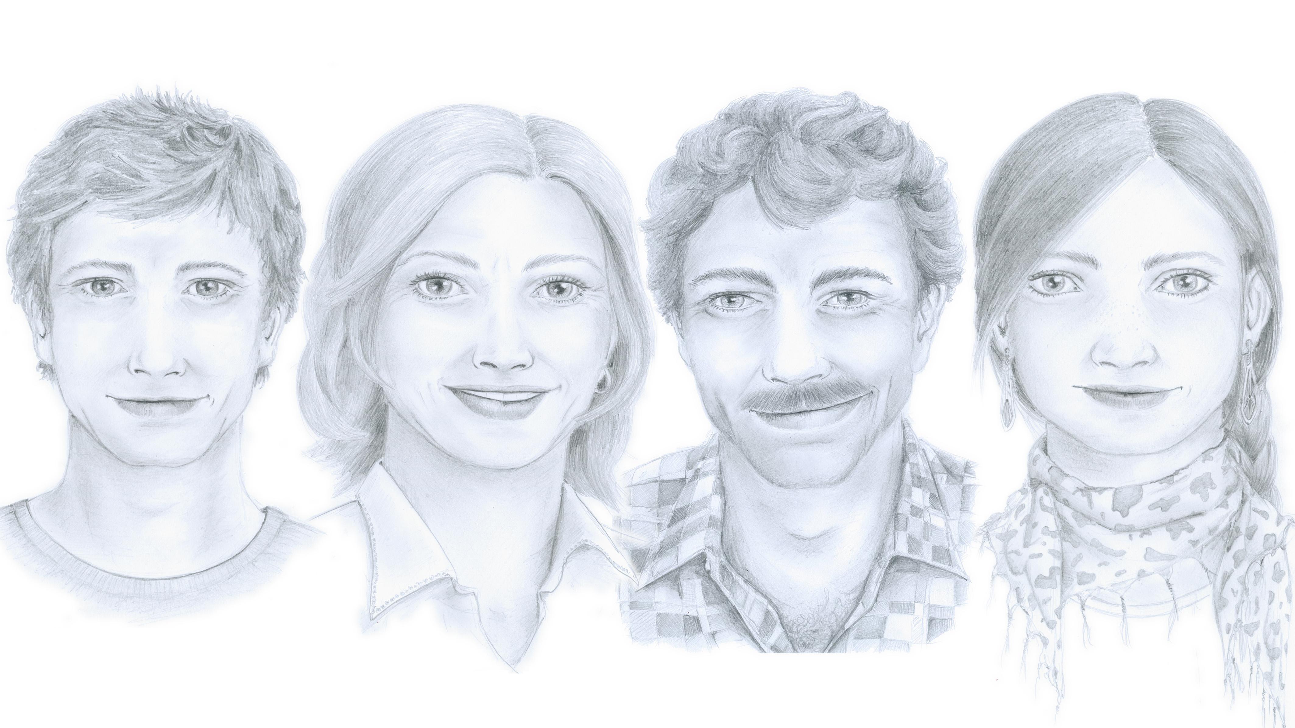Famiglia Caflisch - da sanester: Severin (il figl), Ernesta (la mamma), Martin (il bab) e Pirmina (la figlia)