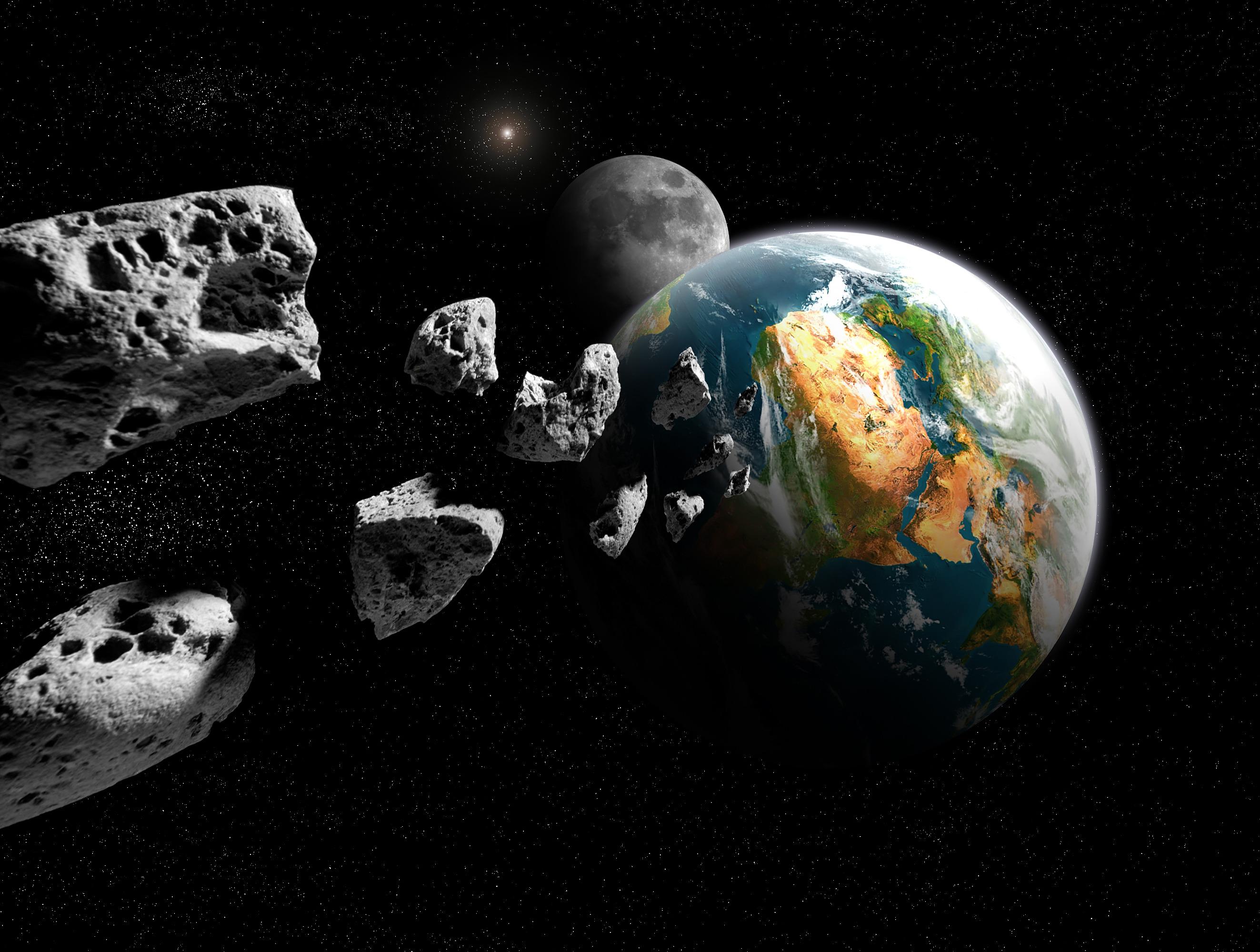 Asteroids e terra (illustraziun): L'asteroid 2004 BL 86 manchentà be pauc la terra.