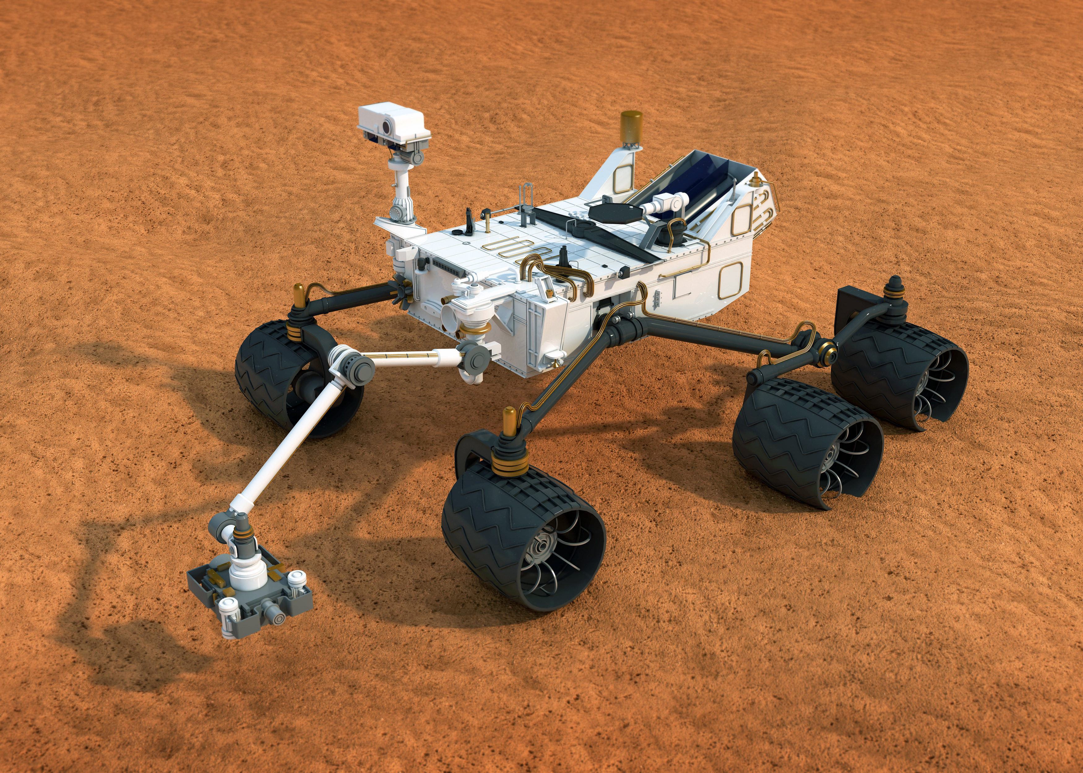 Ils 6 d'avust 2012 è il Curiosity Rover da la Nasa sa platgadas sin il Mars.
