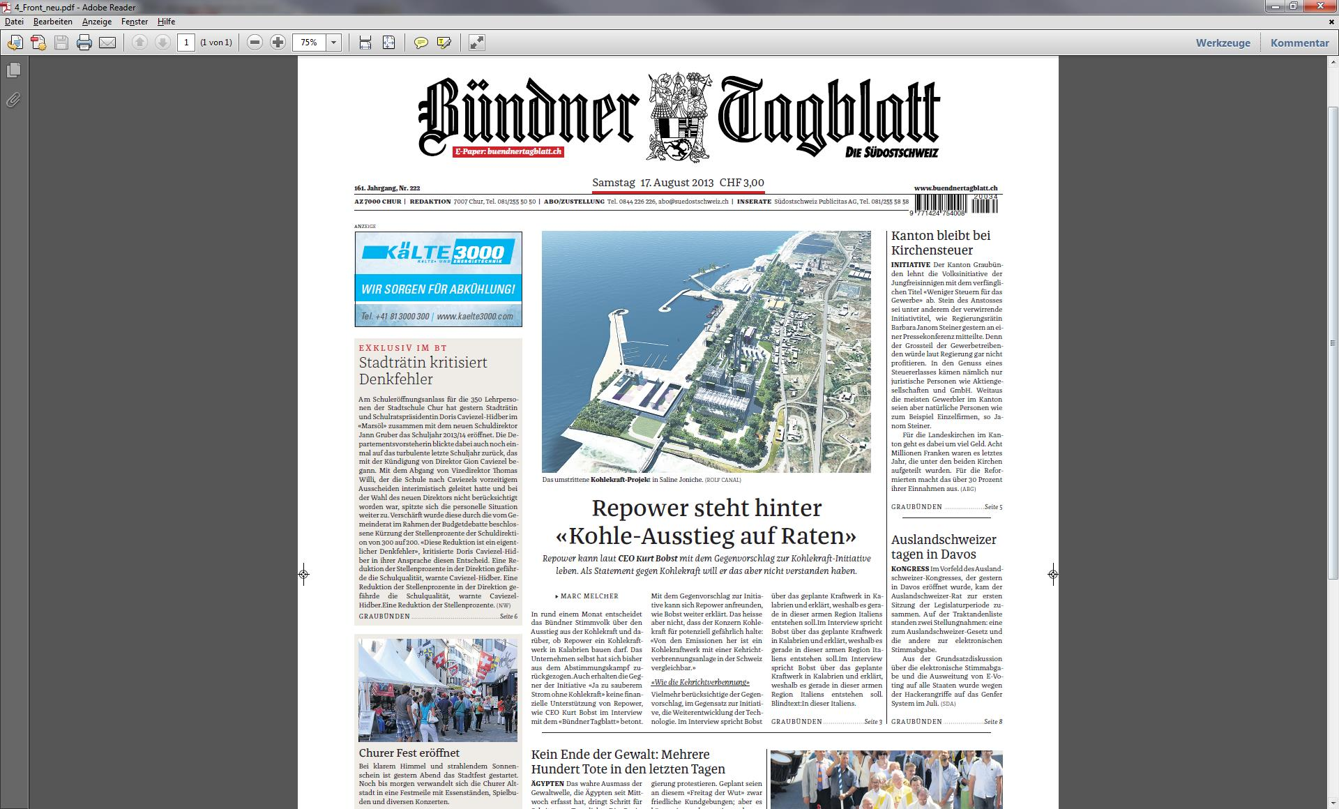 "Il nov ""Bündner Tagblatt"" cumpara a partir da sonda, 31-08-2013."