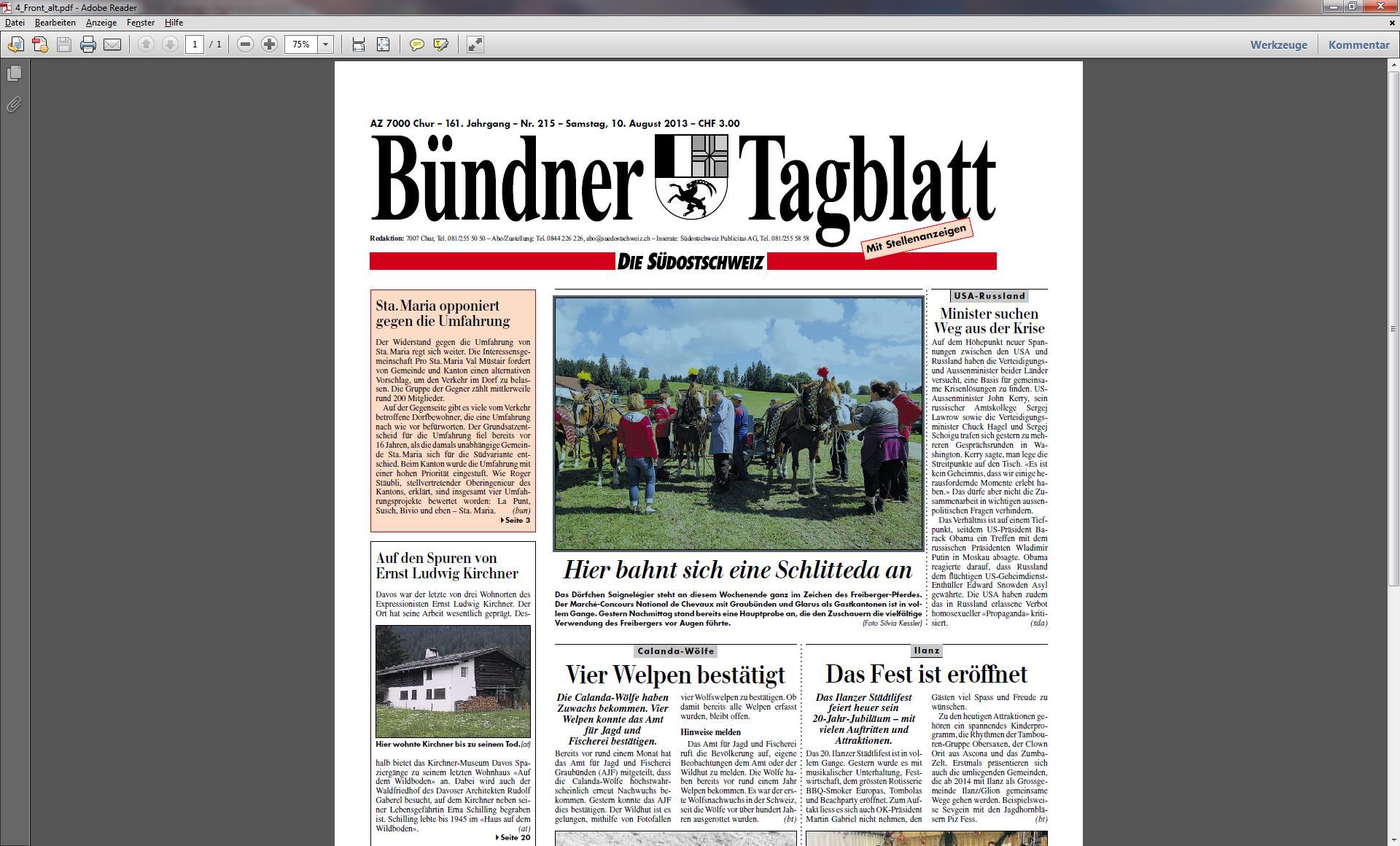 """Il costum vegl dal """"Bündner Tagblatt""""."""