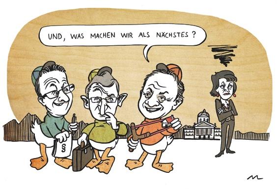 Schmid, Brand und Engler spielen mit der Zweitwohnungsinitiative.