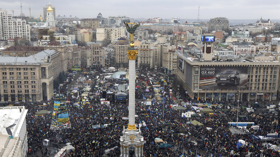 Plazza Majdan a Kiew en l'Ucraina.