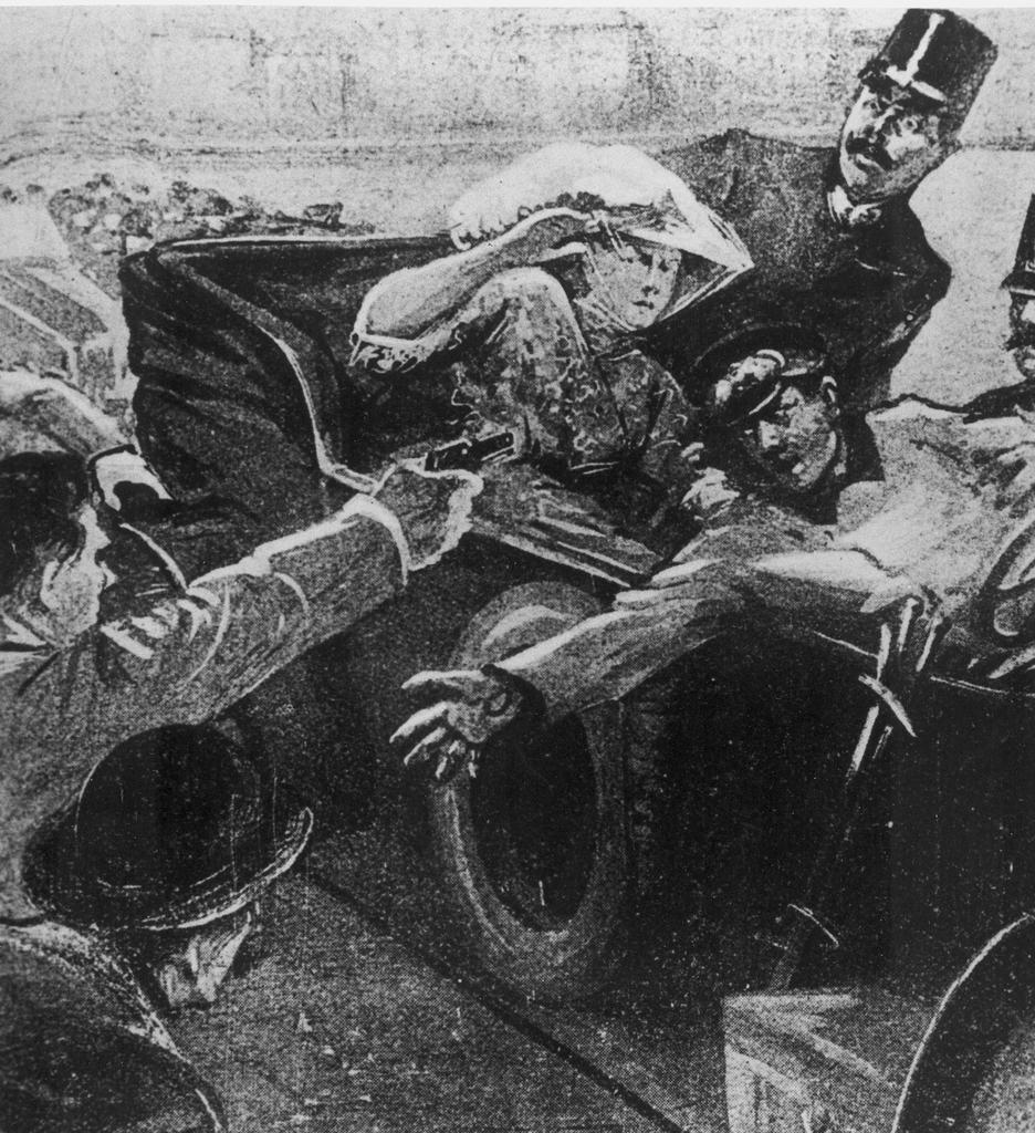 Illustraziun da l'attentat da Sarajevo: Gavrilo Princip sajetta sin il prinzi ereditar Franz Ferdinand e sia dunna Sophie.