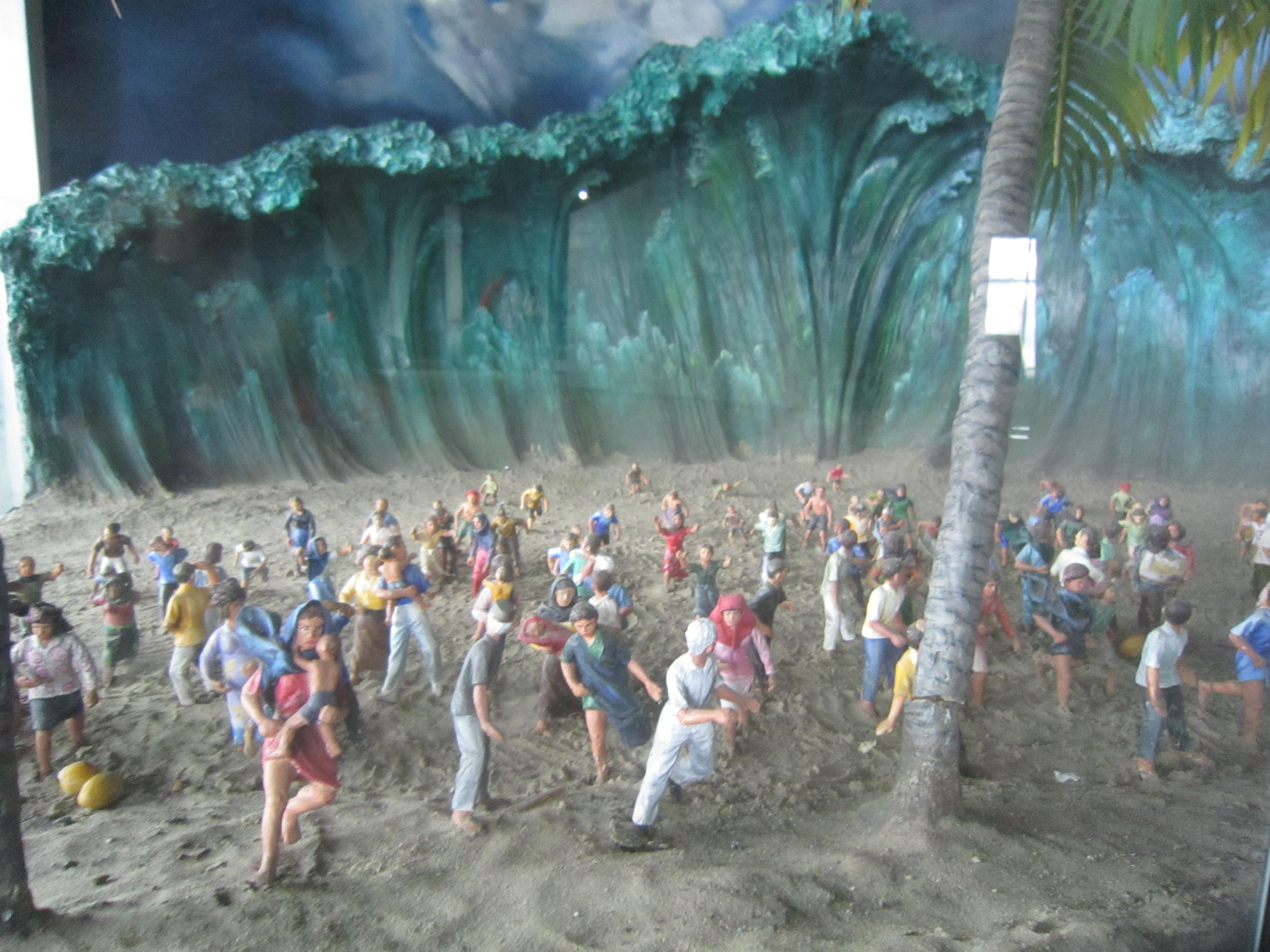 Model dal tsunami en il museum a Banda Aceh.