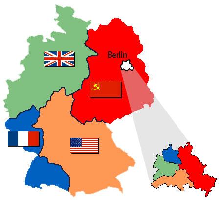 La Germania e Berlin spartida en las differentas zonas d'occupaziun